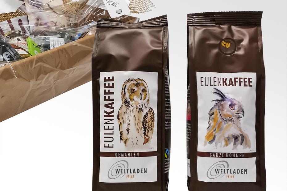 Eulenkaffee im Peine Marketing-Präsentkorb